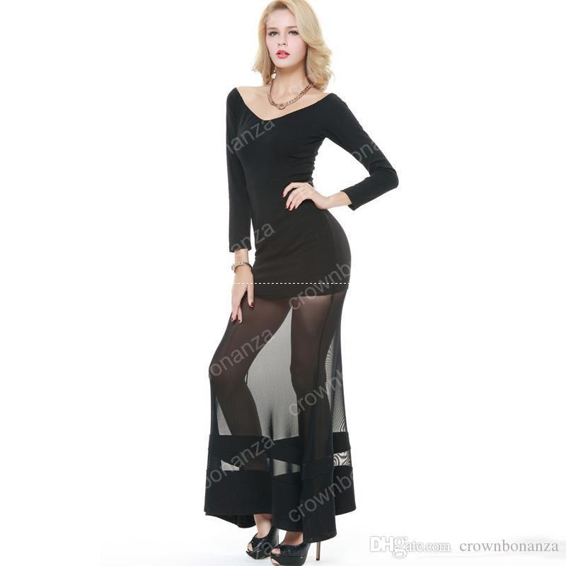 Vestido maxi de manga larga para mujer Vestido de sirena largo con paneles de malla negro sexy Vestidos de fiesta de cóctel con cuello en V de manga larga