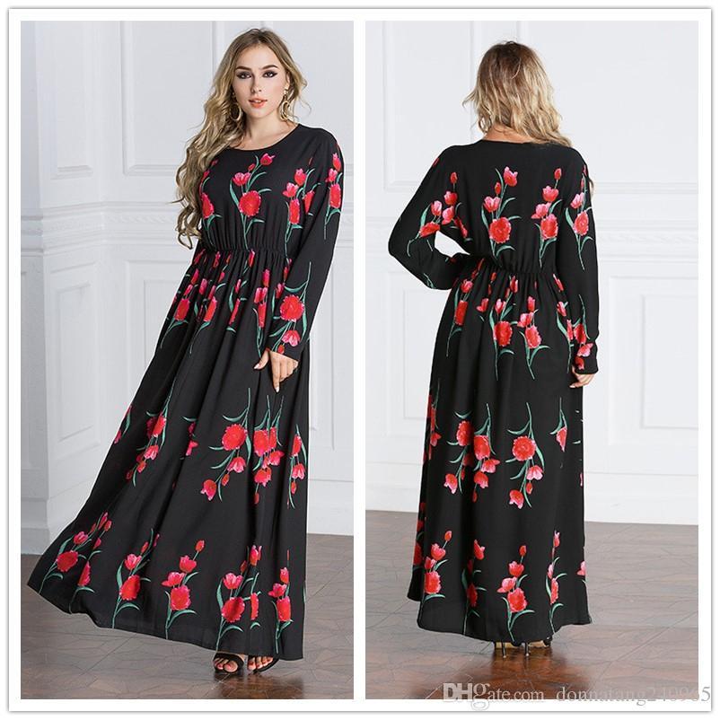 07f0c06dc81 2019 Big Size 6XL For Fat Women Vestidos Clothing Elegant Print Rose  Flowers Woman DressNew Fashion Autumn Long Sleeve Muslim Dubai Robe Dress  From ...