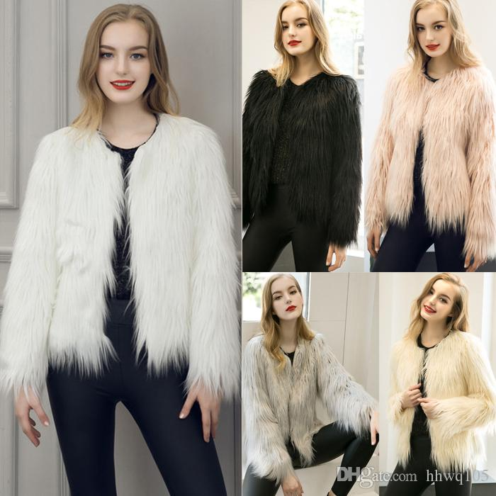 2018 New Women'S Faux Fur Coat Fashion Winter Warm Coat Jacket ...