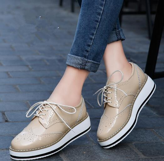 01db54f99c5 Women Platform Oxfords Brogue Patent Leather Flats Lace Up Shoes Pointed  Toe Creepers Vintage luxury beige