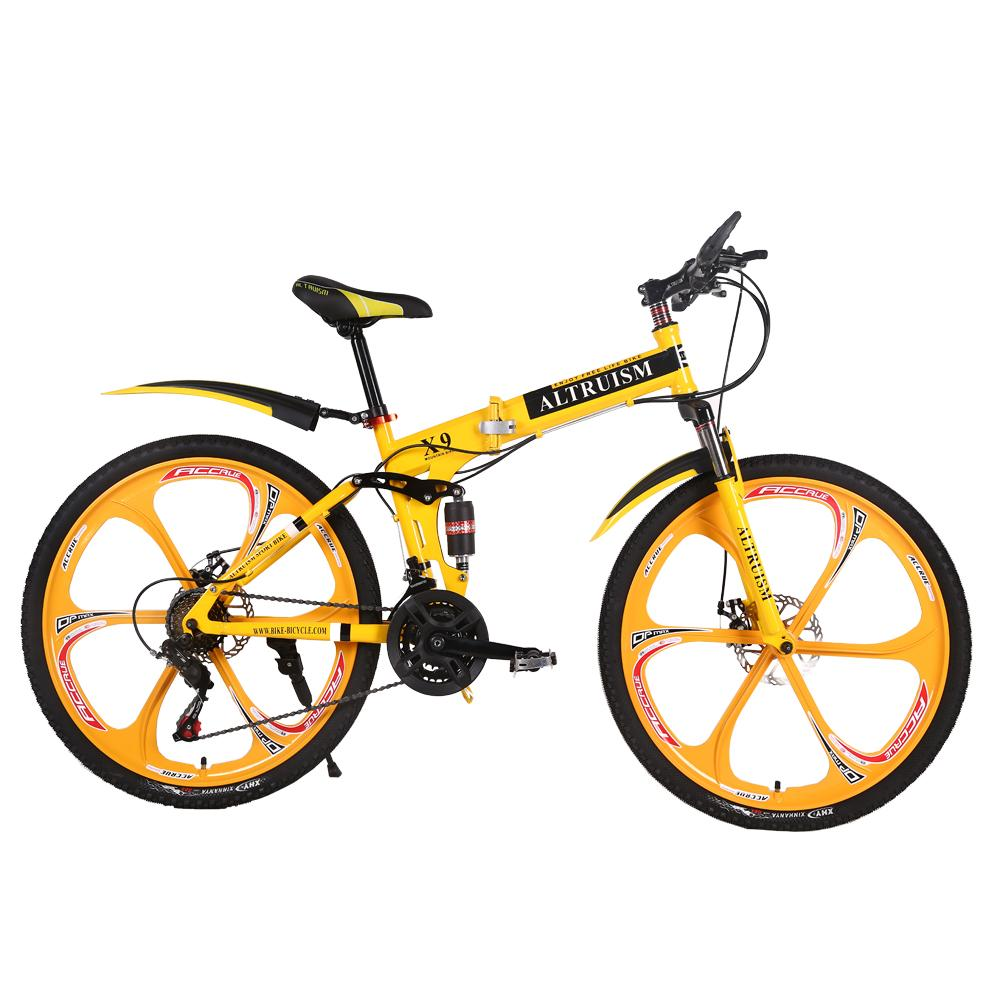 X9 26 inches bicycles Steel 24 speed Double shock absorption folding mountain bike Double disc bicycle
