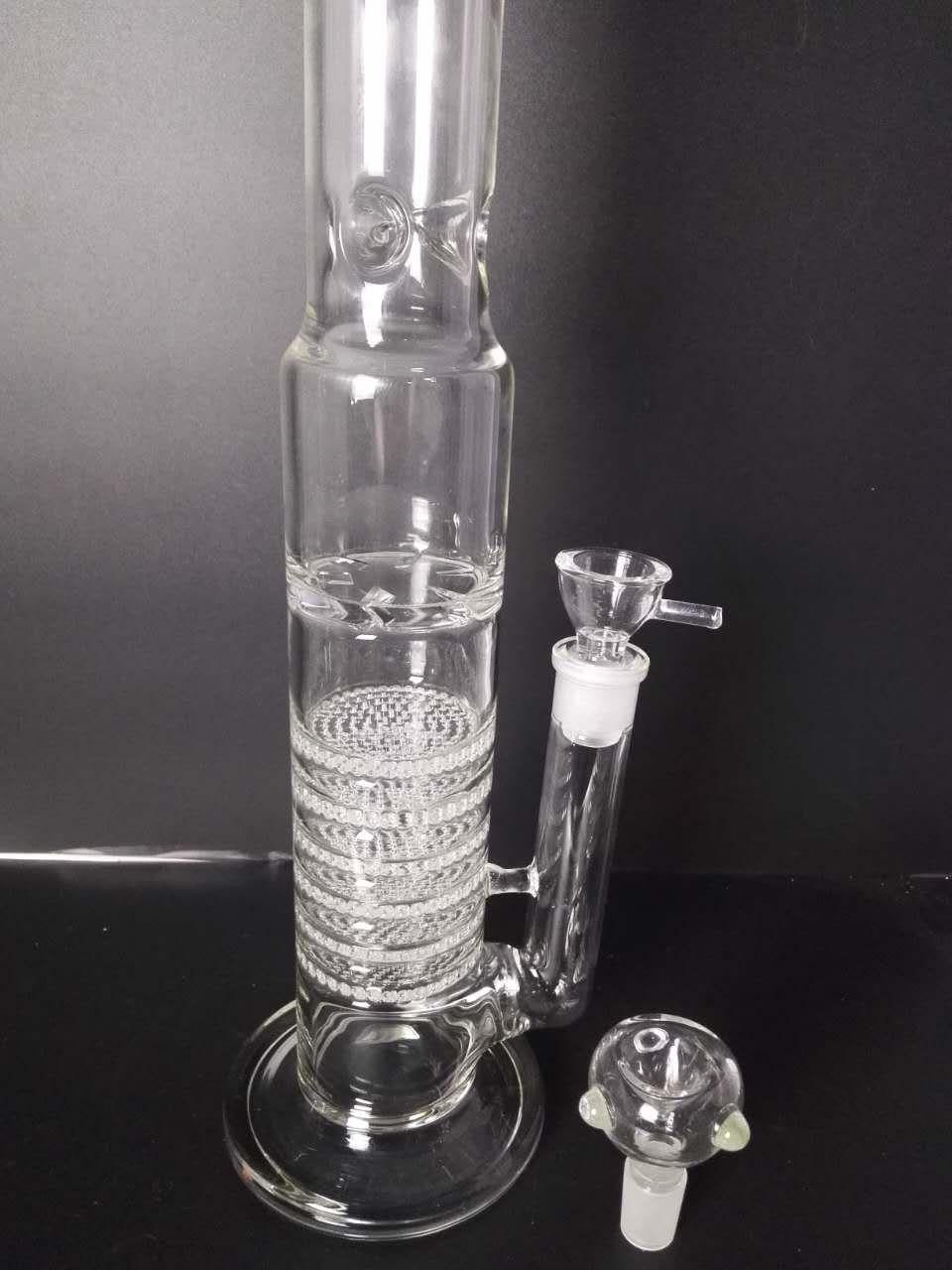H: 45см стекло бонг удобная труба для воды 7 слой Сота перколятор барботер Утилизатор нефтяных вышек Золоуловитель 18 мм совместное стеклянная чаша портативный