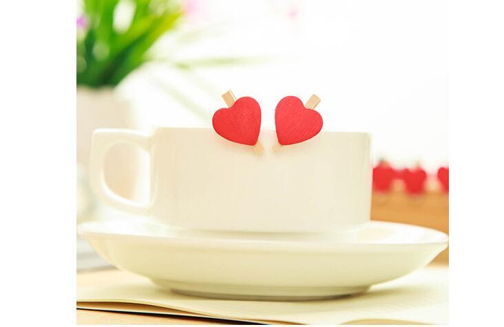 Amore cuore rosso in legno mini colorato clip foto carta pioli di legno artigianato bambini favore di partito decorazione della festa nuziale a casa