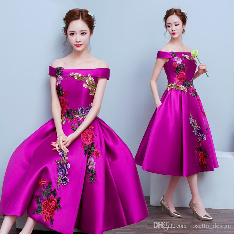 2017 Real Off Shoulder Prom Dresses Tea Length Embroidery Corset ...