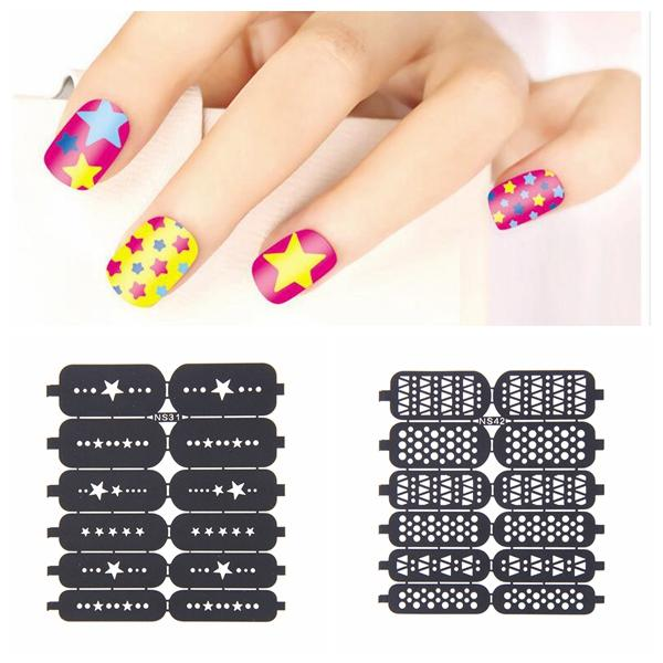 25 #34 Nail Art Template Stickers Stamp Stencil Guide Reusable Tips ...