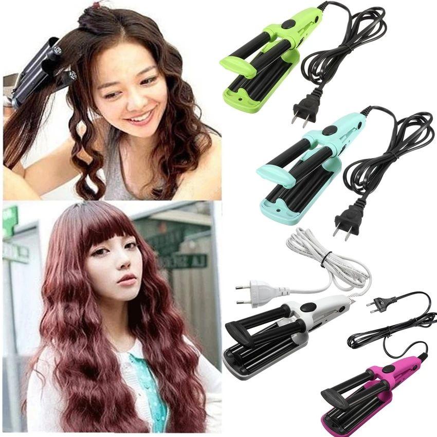 3 Barrel Ceramic Hair Curling Iron Tong Crimper Curler