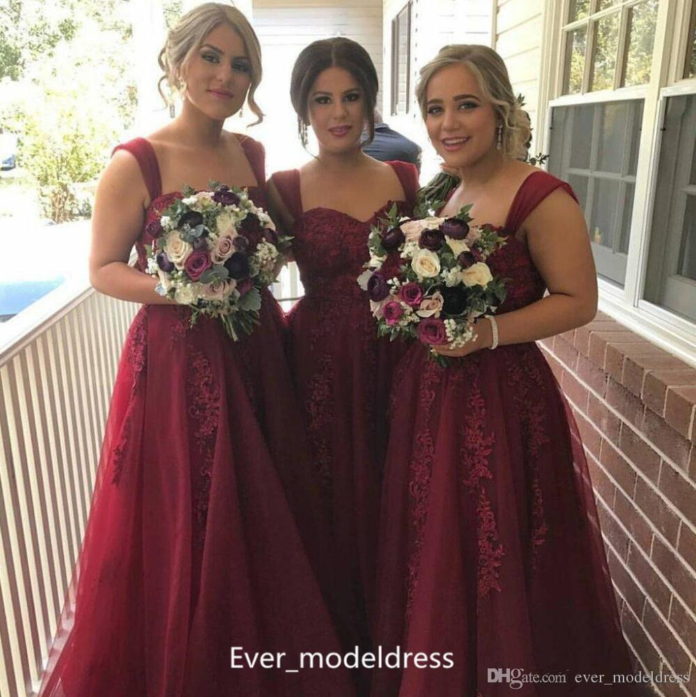 Vintage Wine Red Plus Size Bridesmaid Dresses 2017 Suqared Beading ...