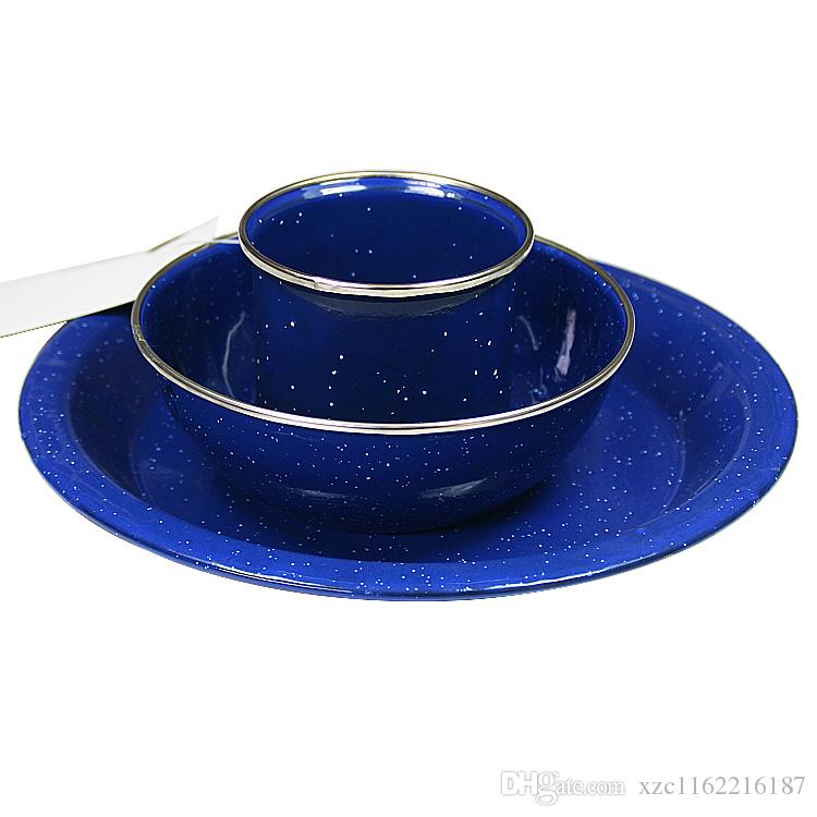 Outdoor Enamel Cup Dishes Piece Set Camping Tableware Belt Glass Fruit Plate Coffee Hot Cookware