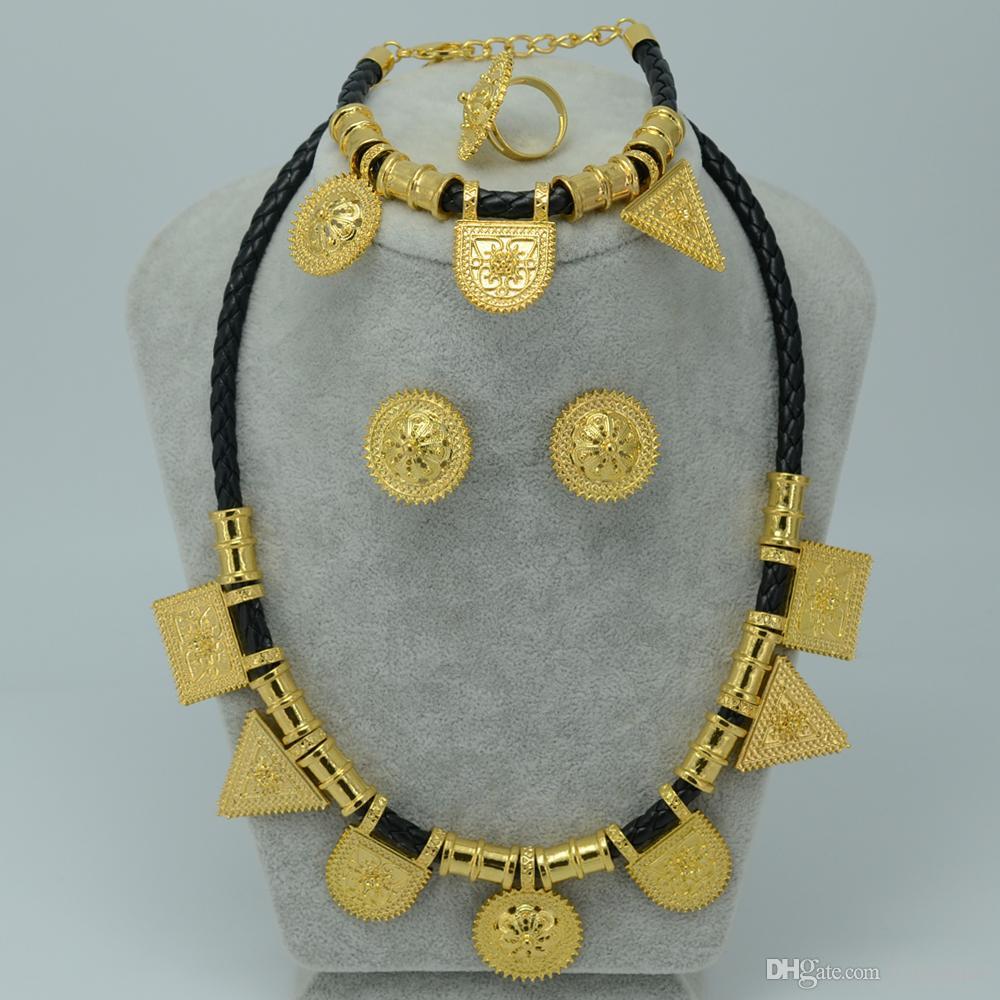 24k Gold Plated NEW Ethiopian Jewelry Set Eritrea Habesha Sets