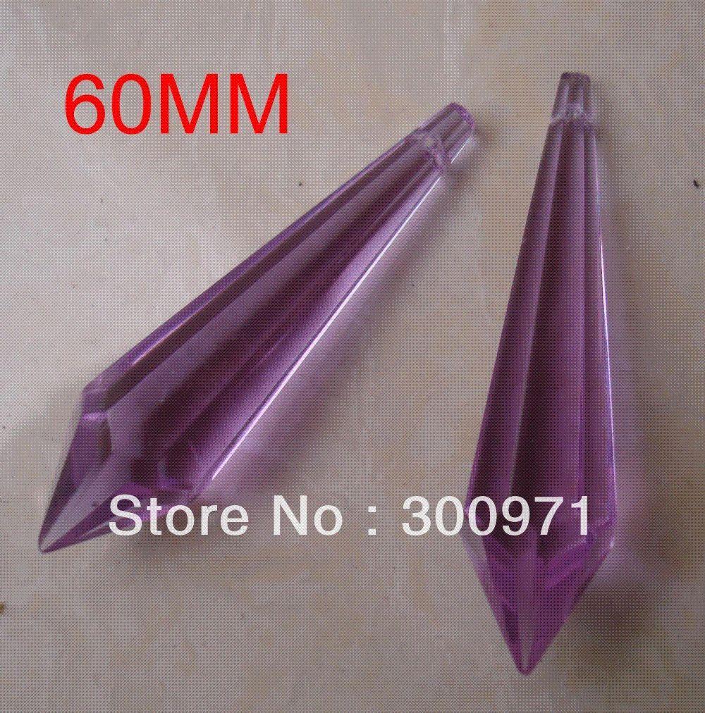 60mm Purple Crystal Ice Prism Chandelier T Parts Drop