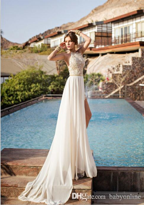 2019 Summer Beach Boho Sheath Wedding Dresses IN STOCK Cheap Halter Neck Backless High Side Split Bridal Gowns CPS231