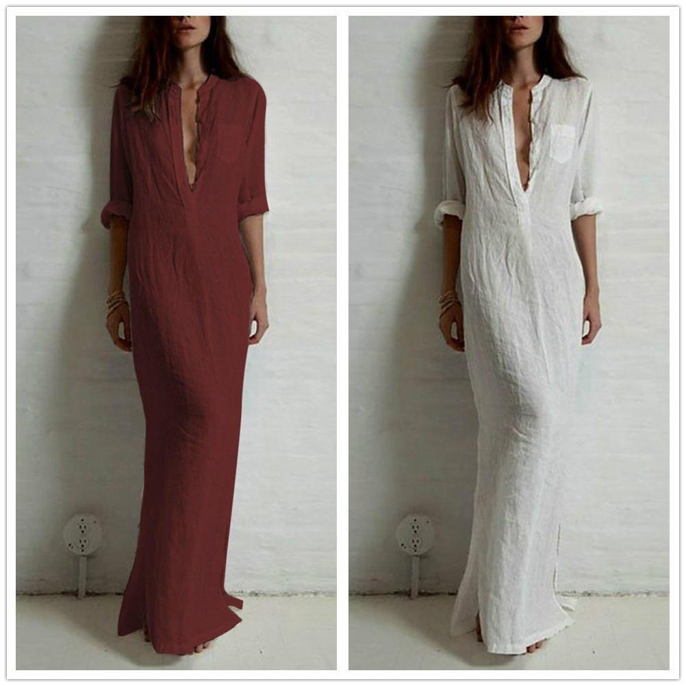 763e1ef6c74 Summer Women Sexy Casual Dress Deep V Neck Linen Long Sleeve Split Solid Long  Maxi Dress Plus Size Dresses Uk Women Dresses From Sky element