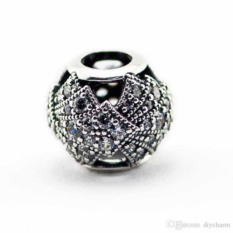 Branelli allentati 100% autentiche 925 perle in argento sterling con cz Fan Oriental Openwork Fits bracciali Pandora 2016 nuova estate