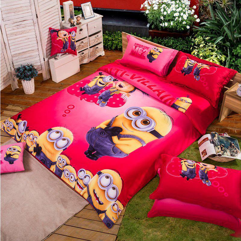 100%cotton Minion Bed Linen Kids Bedding Sets Pink Bedspreads Cartoon  Bedclothes Duvet Cover Set Bed Sheets King Queen Twin Size W22 Egyptian  Cotton Duvet ...