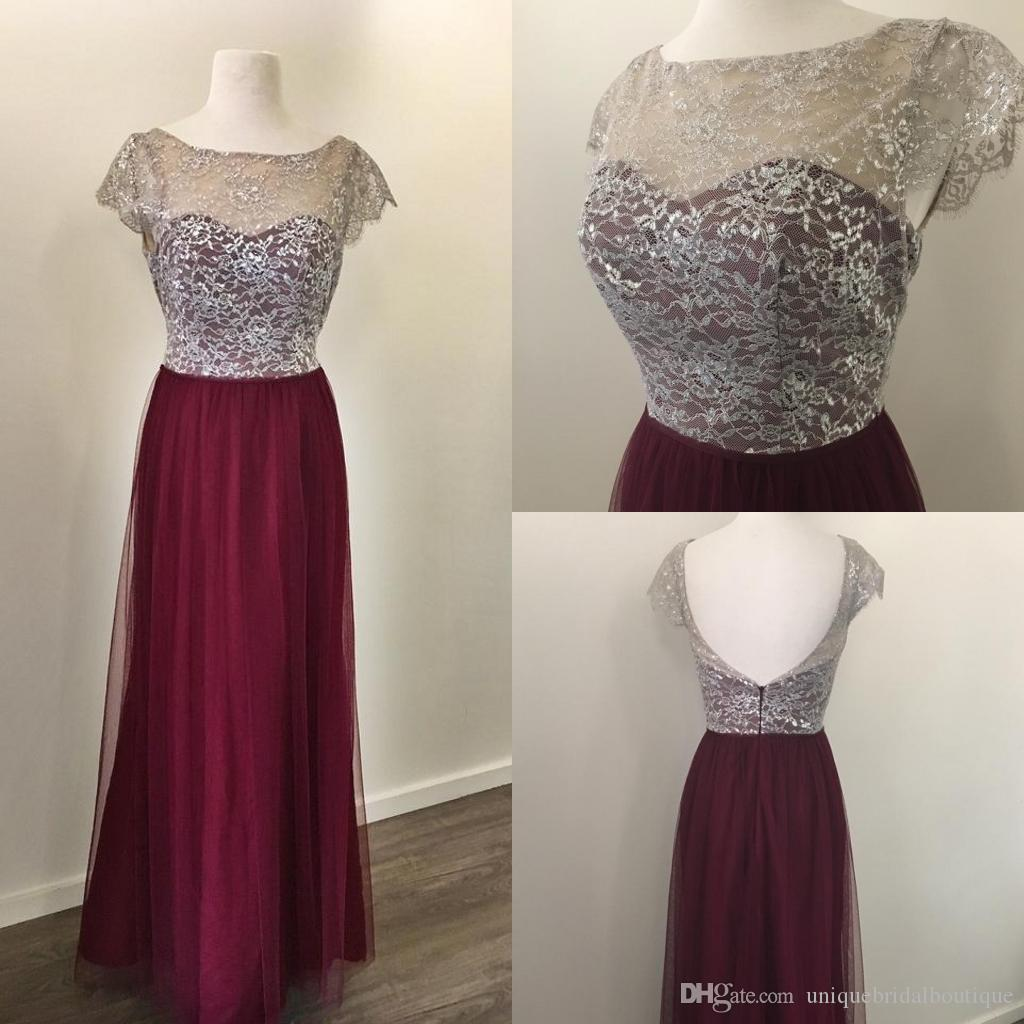 Burgundy silver metallic lace bridesmaid dresses 2017 with cap burgundy silver metallic lace bridesmaid dresses 2017 with cap sleeves backless real pictures long junior formal party dress simple bridesmaid dresses ombrellifo Image collections