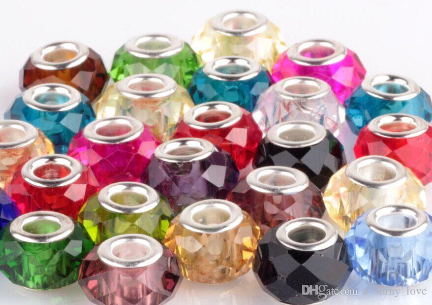 / Schwarzer facettierter Kristall 925 silberne Kern-Korne für Schmucksachen, die lose Charme-DIY-Korne für Armband-Großverkauf in Groß Tiefstpreis