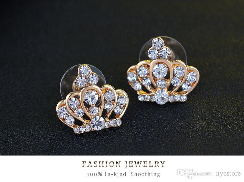 conjunto de jóias 18k ouro preenchido coroa de cristal austríaco colar de pingente + brincos + pulseira + conjunto de jóias anel para casamento