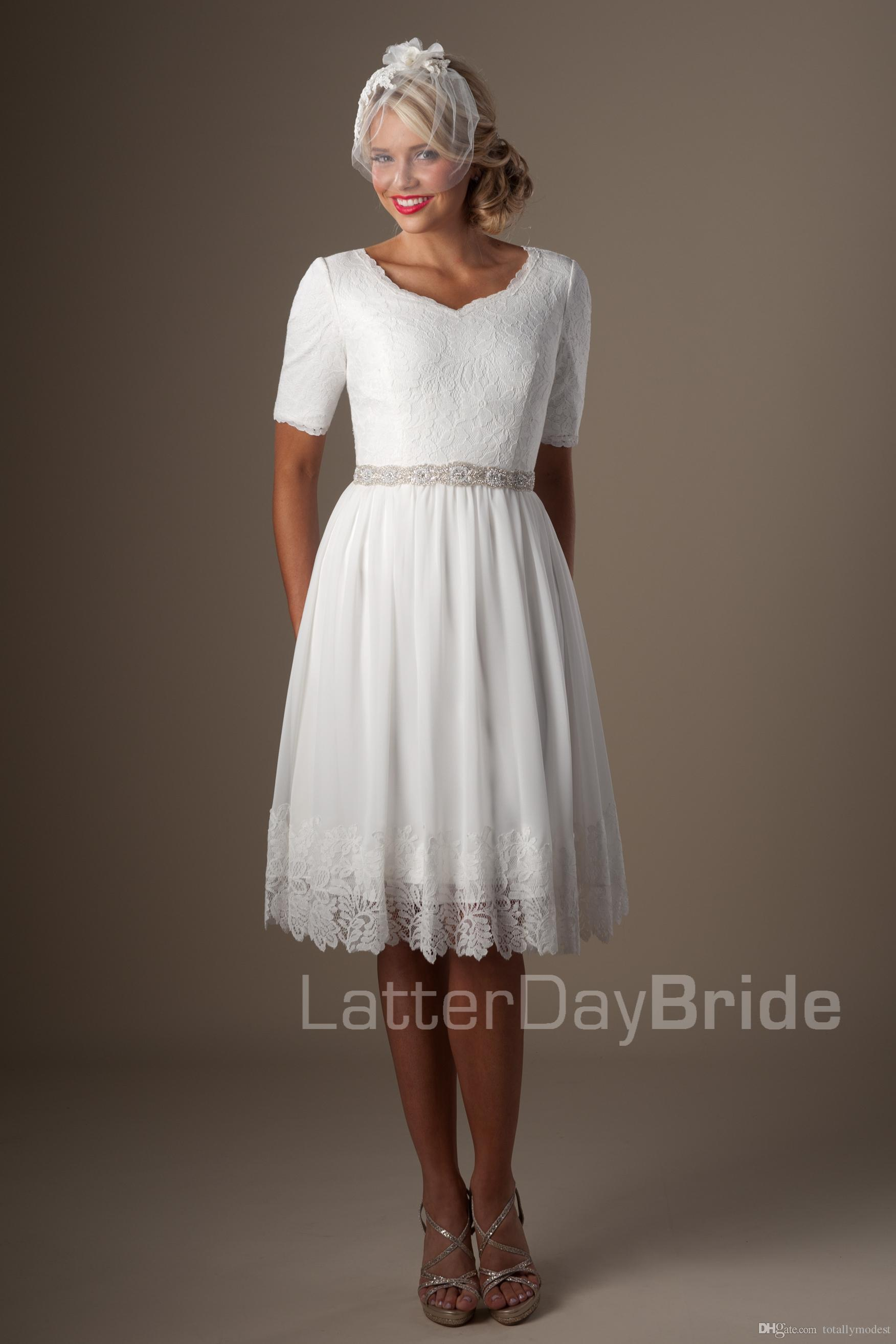 Discount Ivory Lace Chiffon Short Informal Modest Wedding Dresses With Half Sleeves Knee Length Vintage Reception For Casual: Vintage Tea Length Modest Wedding Dresses At Websimilar.org