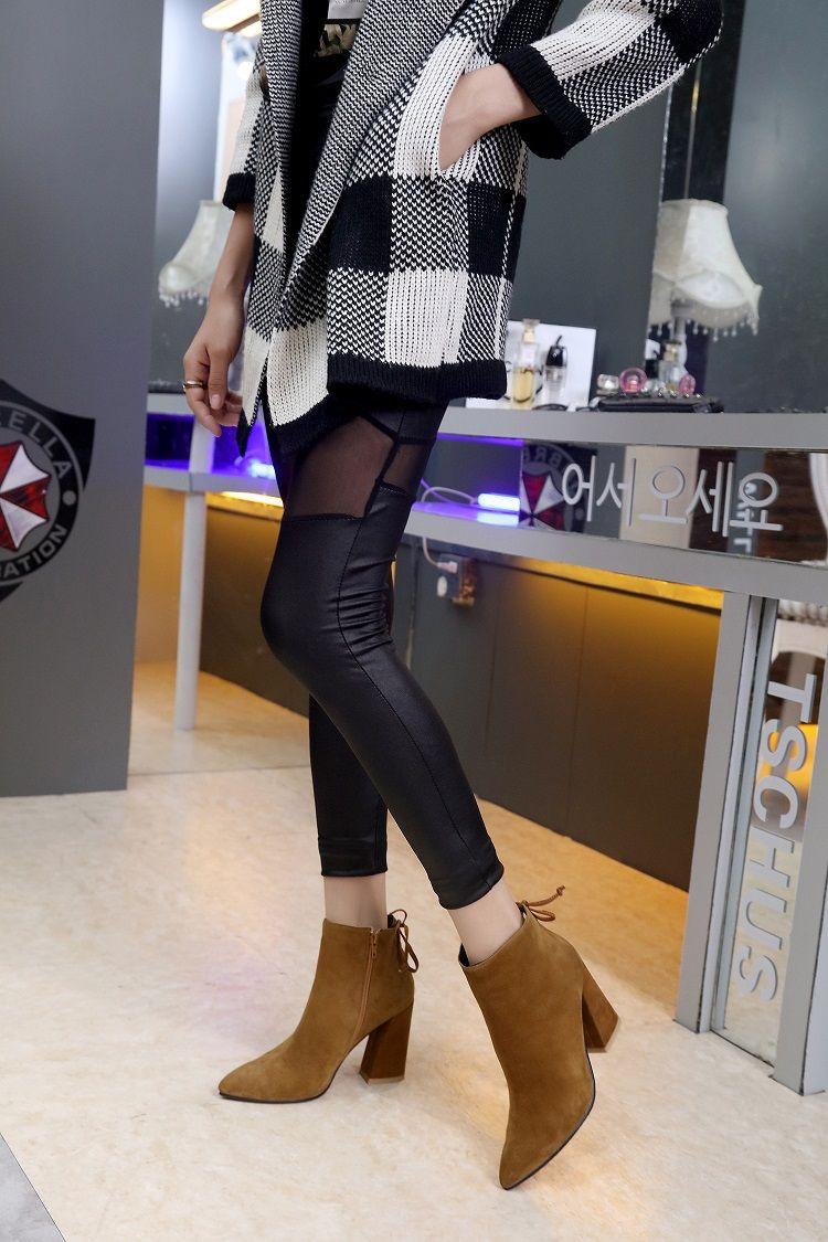 caldo! u654 i in vera pelle opaca opaca tacchi spessi stivali corti ragazzino moda moda moda s