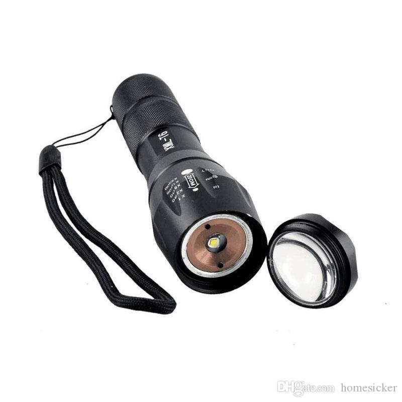 E17 CREE XM-L T6 Lampe de poche à DEL à lampe torche à DEL Cree 1200Lumens à zoom réglable Lampe de poche à lampe torche Pour 3xAAA ou 1x18650