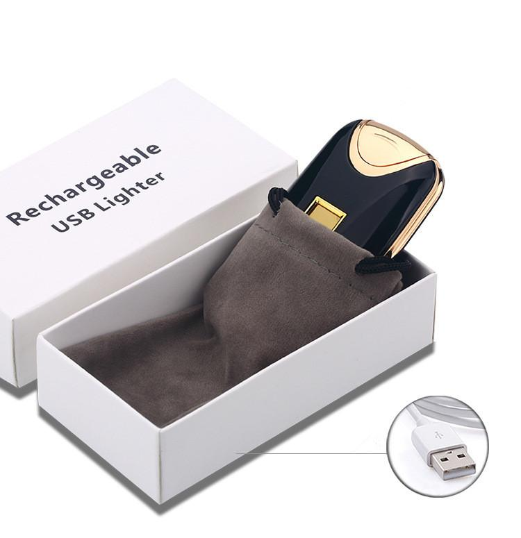Newest fashion and hot selling USB Electric Dual Arc Metal Flameless fingerprint Rechargeable Windproof Lighter