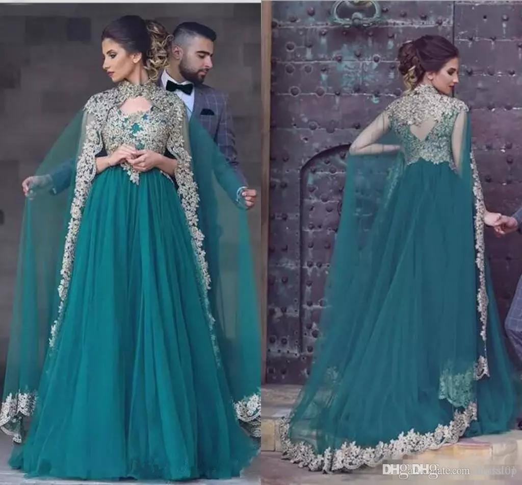 New Hunter Green Arabic Evening Dresses Appliqued Long Prom Gown Indian Lace Beaded Party Dress With Cape