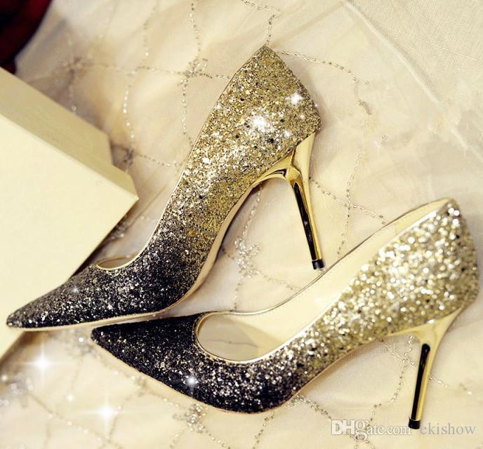 Дешевые летние женские low-cut насосы Леди стразы серебро золото бордовый дно туфли на высоком каблуке для женщин свадебное платье невесты v обувь