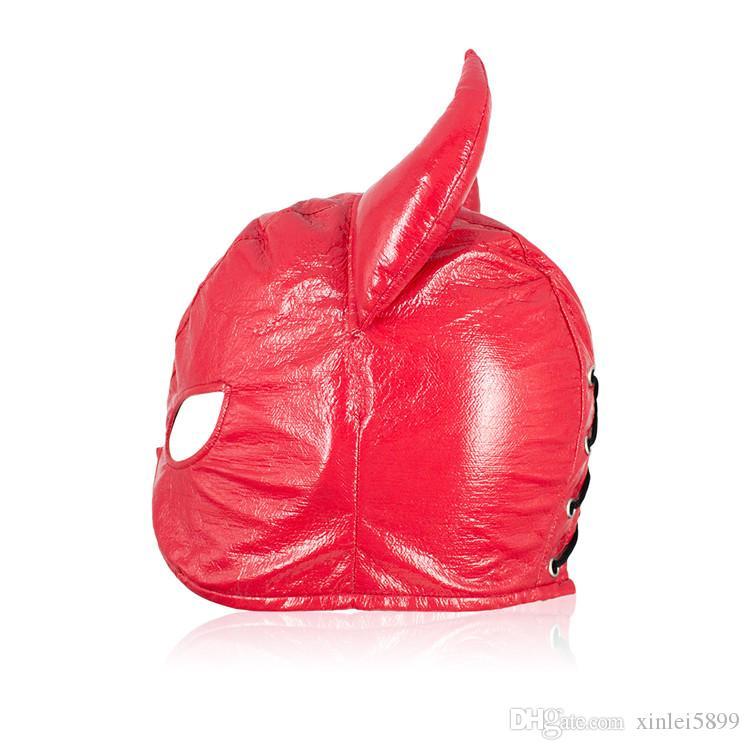 Секс-игрушки искусственная кожа Gimp головной убор Дьявол голова Маска с глаз отверстие злые Рога взрослая игра секс бондаж магазин сдержанность регулируемый размер