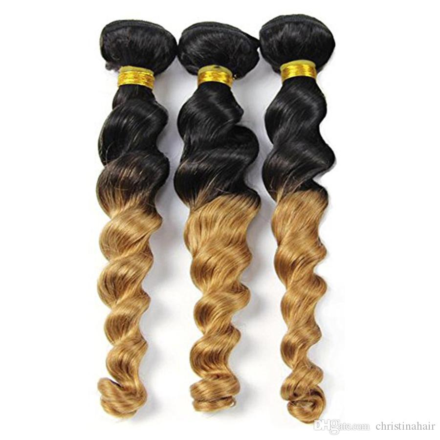 Ombre Hair Extension Real Human Hair Loose Wave 3 Bundle Black to Blonde 2 Tone Color Grade 7A Virgin Brazilian Loose Wave Weft