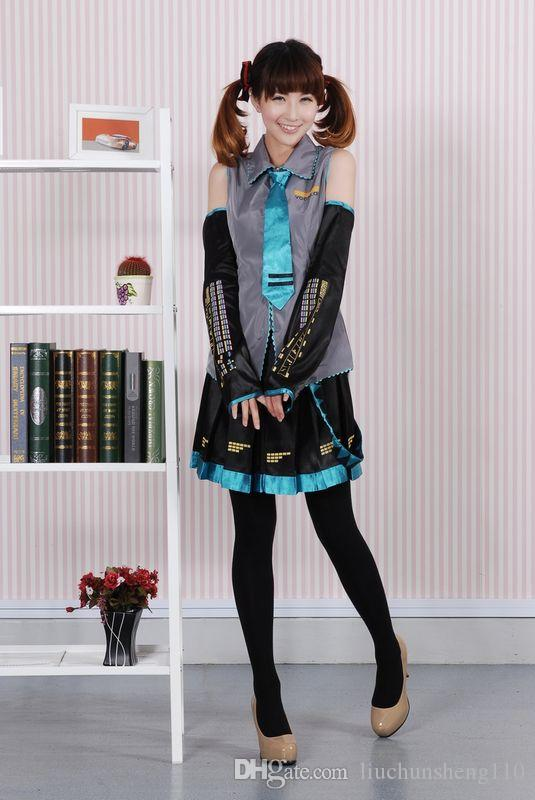 Anime Vocaloid Hatsune Miku Cosplay Costume Halloween Women Girls Dress Full Set Uniform and Many Accessories