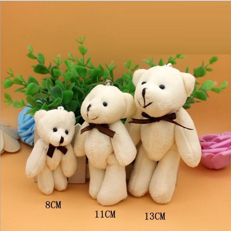 100 Pz / lotto Kawaii Piccola Dimensione 8/11/13 cm Giunto Teddy Bears Farcito Peluche Orsi Ciondolo Peluche Giocattoli Regalo di Nozze Spedizione Gratuita