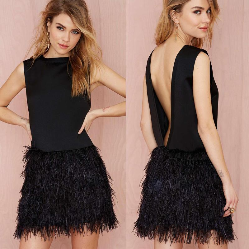 Sexy 2016 Black Chiffon Backless Short Cocktail Dresses Cheap Ostrich Feather Open Back Prom Dresses Custom Made China EN3318