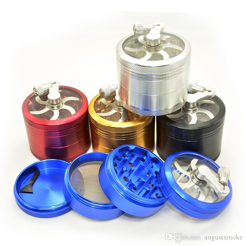 aluminum sawtooth grinder with handle rolling pollen hand-crankingTobacco Grinder Smoke Grinders 4 laye smoking New &wholesale