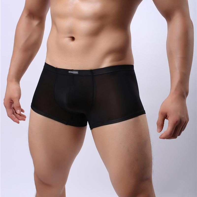 Pantaloncini boxer in seta Ice Ice Sexy Sheer Mesh Biancheria intima ultra-sottile Comfort Comfort Intimo uomo Boxer Exotic Boxer Shorts PWH42