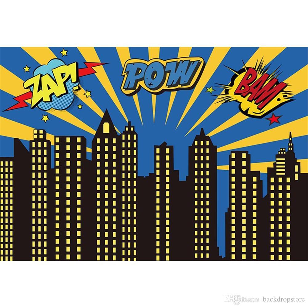 cartoon city buildings photography backdrops zap pow bam superhero baby newborn birthday party superhero vector free superhero vector clipart