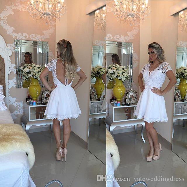 Short Prom Dresses Short Sleeve Plunging With Lace Applique Evening Gowns With Beading Sheer Back Knee-Length Custom Made Party Dress 2016