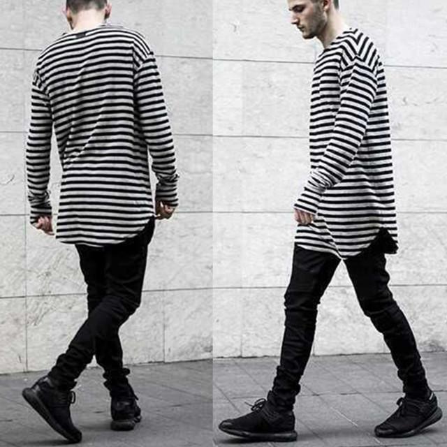 Fashion Men T Shirt Long Sleeve Swag Mens T Shirts Fashion Striped ...