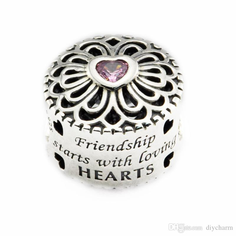 Fits For Pandora Bracelet Original 925 Sterling Silver Beads Love   Friendship  Charm With Pink CZ 2016 New Autumen Jewelry DIY UK 2019 From Diycharm f74c6d0d43