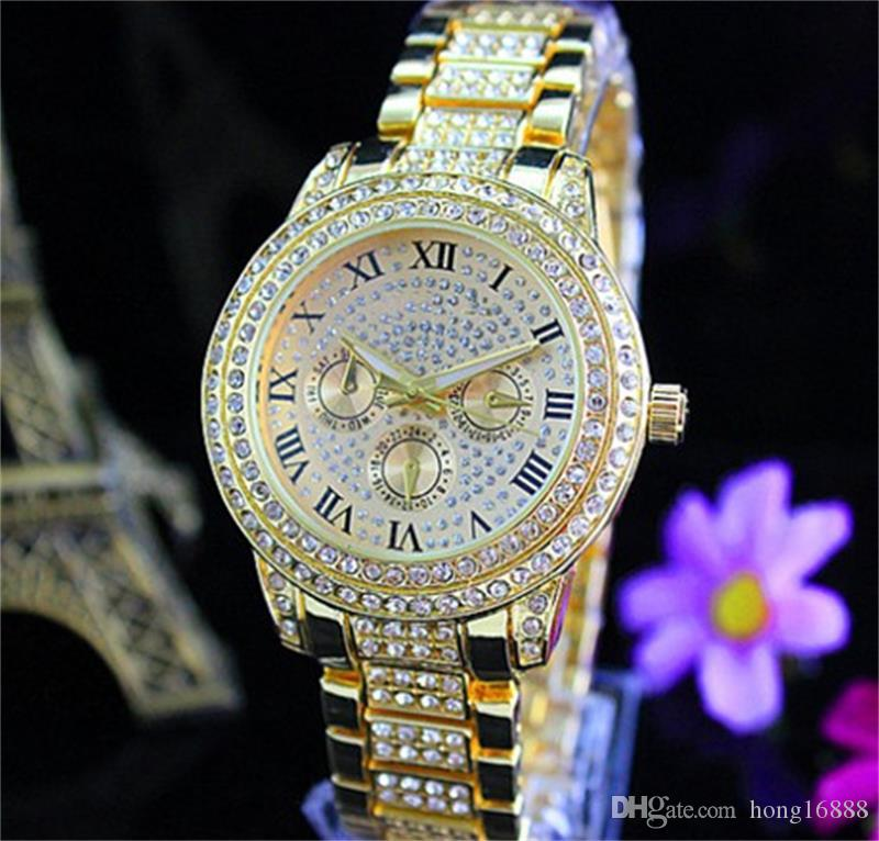 Fashion Watches michael Quartz Watch Casual Full Steel Dial Style woman All over the sky stars Crystal Diamond Rome Word Dial Style Watches