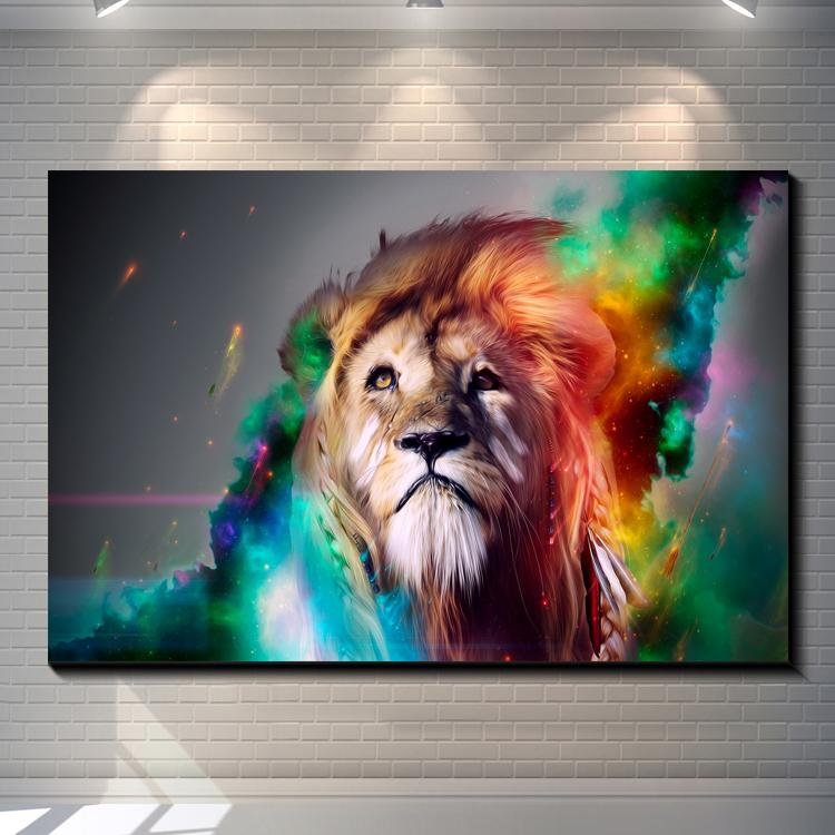 Vintage Abstract Animal STARRY SKY LION creative posters painting pictures print on the canvas,Home Wall art decor canvas painting poster