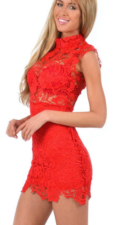 2015020502 Yeni Varış 2015 Dantel Seksi Bodycon Elbise Yüksek Yaka Kolsuz Halter Bandaj Elbise