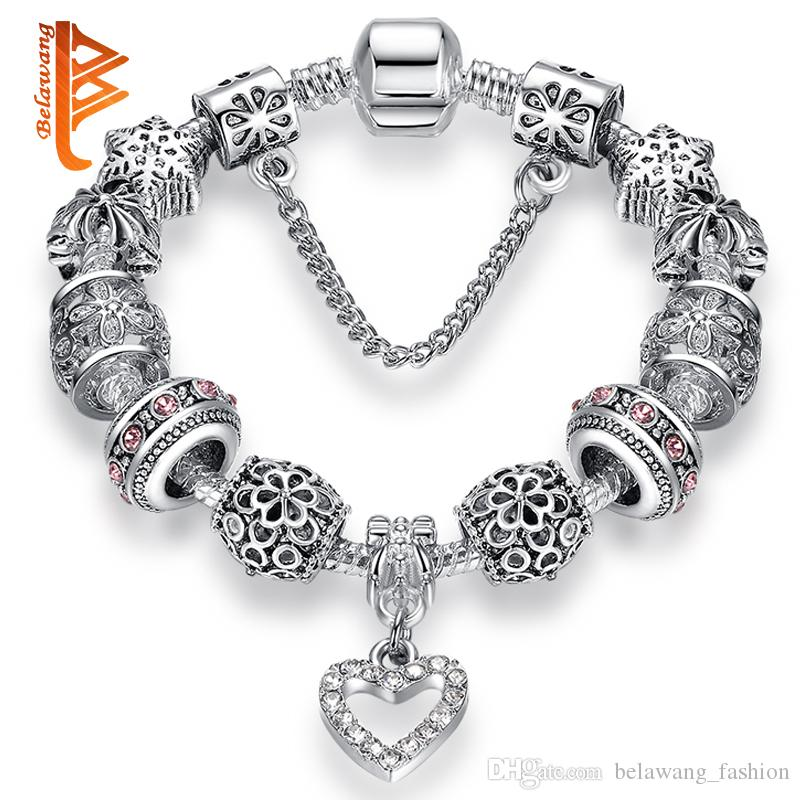 BELAWANG Fashion Silver Plated Heart Crystal Women Charm Beads Bracelets Snowflake Beads Snake Chain Bracelets Jewelry with Safety Chain