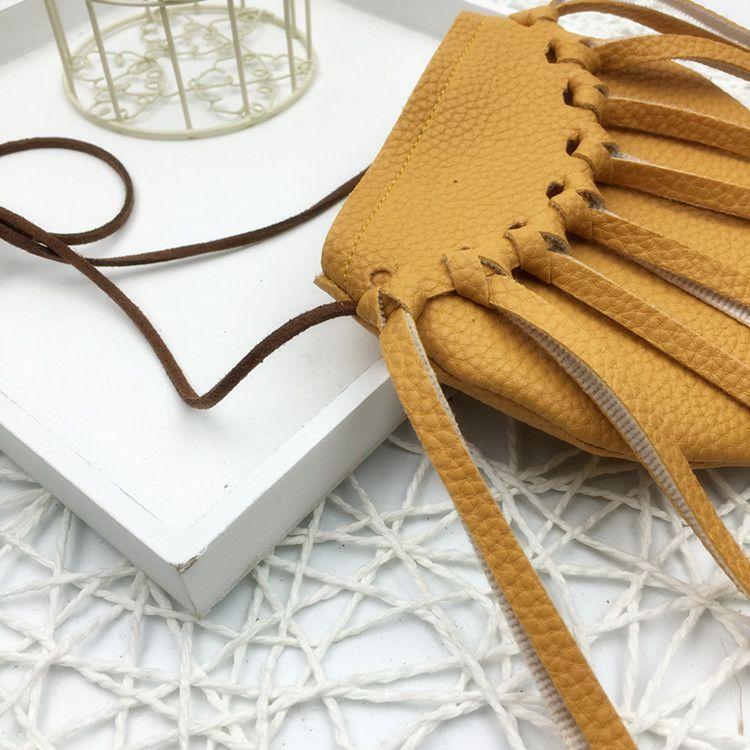 2016 baby mädchen pu-leder quaste hangbags mädchen setzen süßigkeiten münze fringe taschen süße mode pu taschen gelb schwarz gold kaffee wählen
