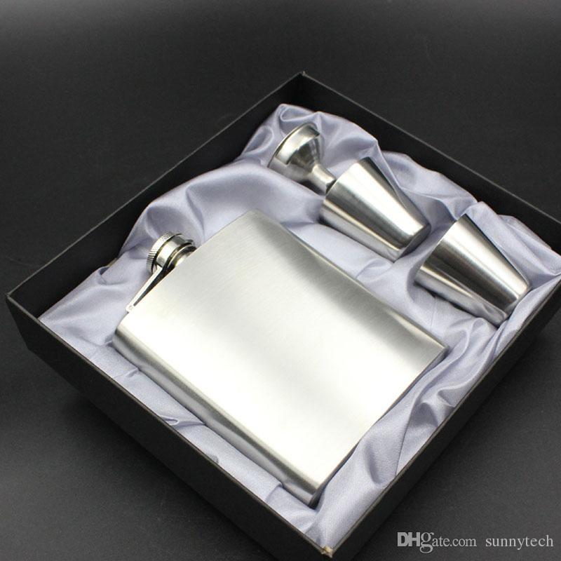 7 Unzen Edelstahl Flachmann mit 2 Schnapsglas Tasse und Trichter In Schwarz Tragbare Geschenkbox ZA4622