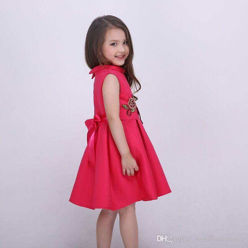 패션 2016 Tutu 자수 어린이 유아 여자 조끼 빈티지 조끼 여름 캐주얼 Vestidos 드 페스타 아이 옷 프린세스