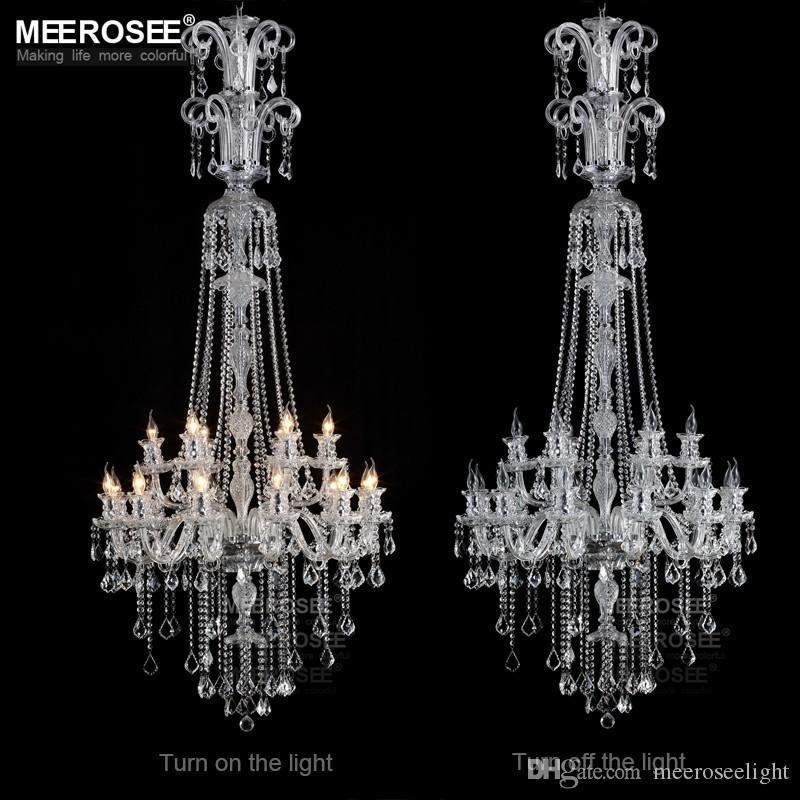 Modern long crystal chandelier light fixture 12 lights clear crystal modern long crystal chandelier light fixture 12 lights clear crystal stair 18 lights lamp prompt shipping 100 guanrantee pendant chandelier shabby chic aloadofball Images