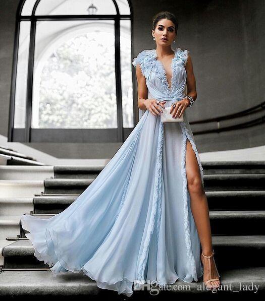 Ralph & Russo Split Celebrity Red Carpet Dresses 2018 Custom Make Sky Blue Flowing Full length 3D Floral Evening Wear Formal Dress