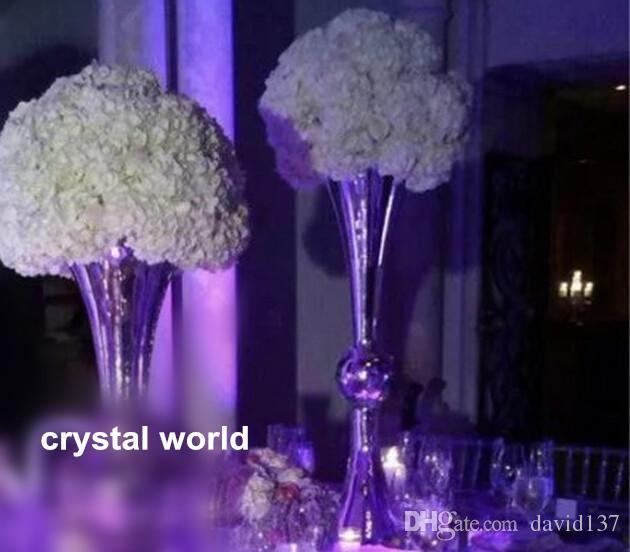 nueva llegada centros de mesa de boda baratos soporte de metal centro de flores de seda