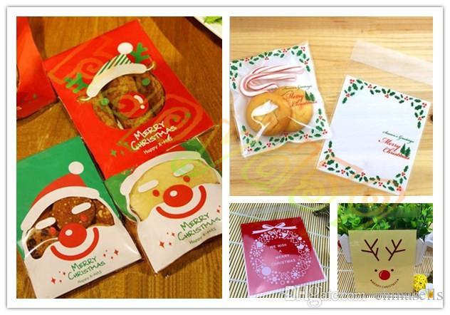 10x10 cm Christmas tree Santa Claus flower gift ziplock Bags Cookies Cake biscuit candy Self-adhesive Packaging Party bag