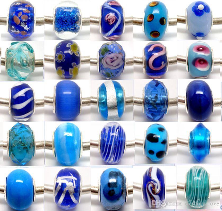 100 stücke gemischt 925 Sivler kern Murano Glasperlen für Schmuck Machen Lose Lampwork Charms DIY Perlen für Armband Großhandel in Groß Niedrigen Preis